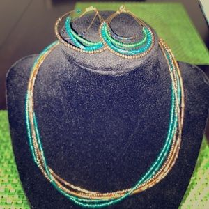 Jewelry - Turquoise and Amber Beaded Necklace & Earring Set